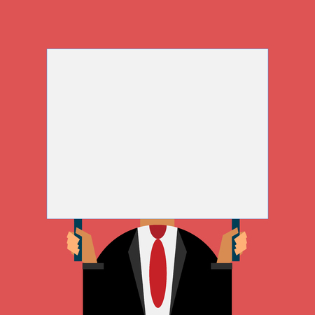 Just man chest dressed dark suit tie no face holding blank big rectangle  イラスト・ベクター素材
