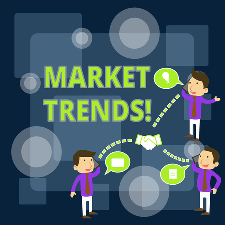 Writing note showing Market Trends. Business concept for Changes and developments in buying and selling in the market Businessmen Coworker Conference Call Discussion Mobile Phone
