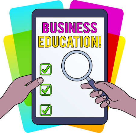 Word writing text Business Education. Business photo showcasing acquiring knowledge on fundamentals of business practices Hands Holding Magnifying Glass Against Switched Off Touch Screen Tablet Banco de Imagens
