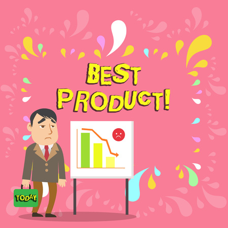 Conceptual hand writing showing Best Product. Concept meaning very popular and a large quantity of it has been sold Businessman with Brief Case Standing Whiteboard Bar Chart
