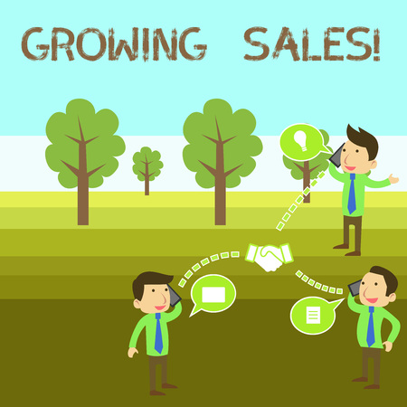 Conceptual hand writing showing Growing Sales. Concept meaning Average sales volume of a company s is products has grown Businessmen Coworker Conference Call Discussion Mobile Phone