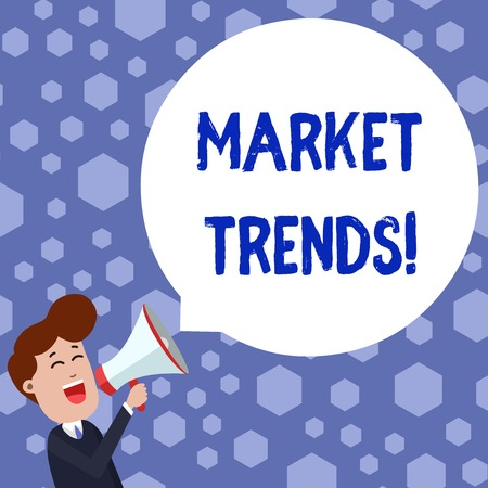 Text sign showing Market Trends. Business photo showcasing Changes and developments in buying and selling in the market Young Man Shouting into Megaphone Floating Round Shape Empty Speech Bubble