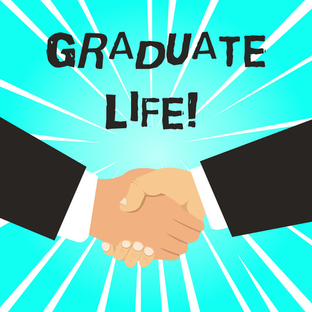 Writing note showing Graduate Life. Business concept for condition or a status a demonstrating after finishing academic degree Hand Shake Multiracial Male Business Partners Formal Suits Stok Fotoğraf