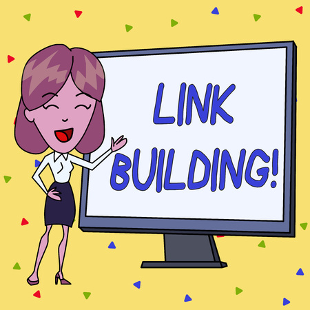 Handwriting text writing Link Building. Conceptual photo process of acquiring hyperlinks from other website to your own White Female in Standing Pointing Blank Screen Whiteboard Presentation