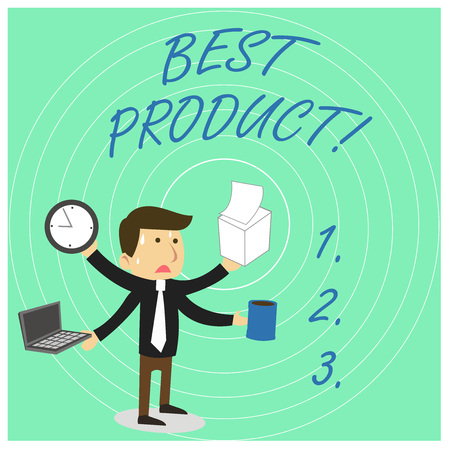 Handwriting text Best Product. Conceptual photo very popular and a large quantity of it has been sold Stressed Out Male Employee Manager Many Armed Multitasking Meet Deadline