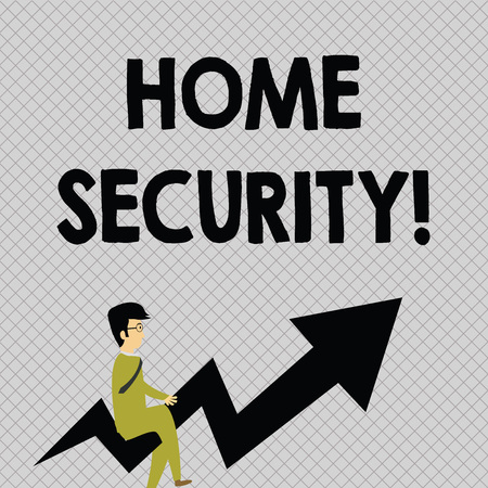 Conceptual hand writing showing Home Security. Concept meaning A system that help protect your home from unwanted intruders Businessman with Eyeglasses Riding Crooked Arrow Pointing Up