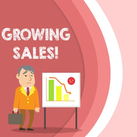 Conceptual hand writing showing Growing Sales. Concept meaning Average sales volume of a company s is products has grown Businessman with Brief Case Standing Whiteboard Bar Chart