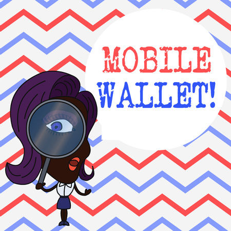 Writing note showing Mobile Wallet. Business concept for mobile technology that is used similarly to a real wallet Woman Looking Trough Magnifying Glass Big Eye Blank Round Speech Bubble Banque d'images