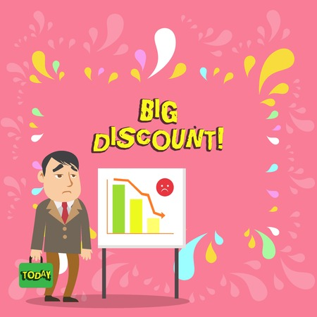 Conceptual hand writing showing Big Discount. Concept meaning a large or greater than usual reduction in price Special offer Businessman with Brief Case Standing Whiteboard Bar Chart