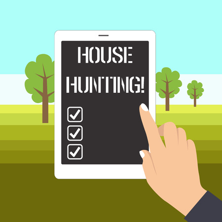 Word writing text House Hunting. Business photo showcasing the act of searching or looking for a house to buy or rent Female Hand with White Polished Nails Pointing Finger Tablet Screen Off