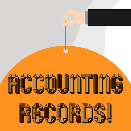 Text sign showing Accounting Records. Business photo showcasing Manual or computerized records of assets and liabilities Stock Photo