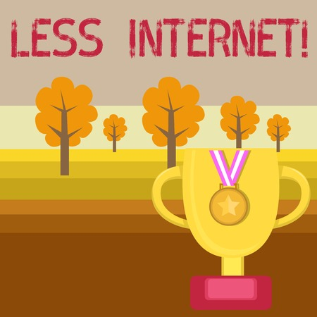 Conceptual hand writing showing Less Internet. Concept meaning Having no way of connecting or accessing the internet Trophy Cup on Pedestal with Plaque Medal with Striped Ribbon Stock fotó