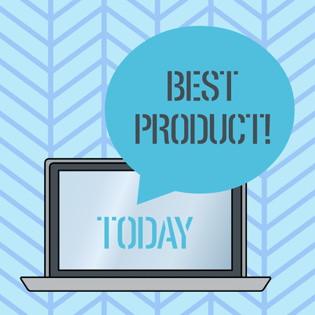 Writing note showing Best Product. Business concept for very popular and a large quantity of it has been sold Round Shape Speech Bubble Floating Over Laptop Backdrop Archivio Fotografico