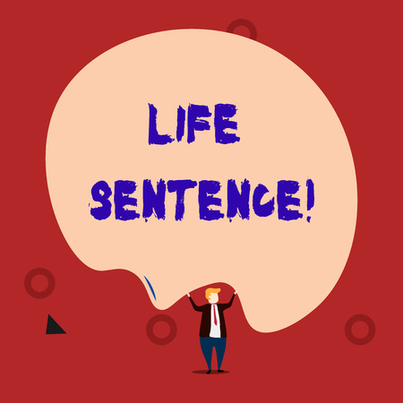 Text sign showing Life Sentence. Business photo showcasing the punishment of being put in prison for a very long time Stock fotó