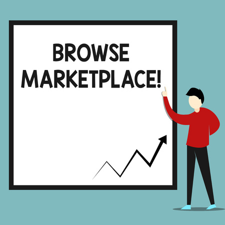 Word writing text Browse Marketplace. Business photo showcasing looking through a set of information in the market Zigzag arrow line diagram chart presented in white big board by lecturer