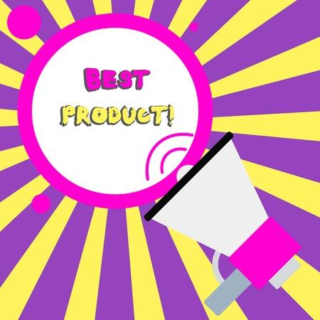 Konzeptionelle Handschrift zeigt das beste Produkt. Konzept bedeutet, dass sehr beliebt und eine große Menge davon verkauft wurde, Trompete rund gestrichene Rede Text Ballon Ankündigung zu sprechen