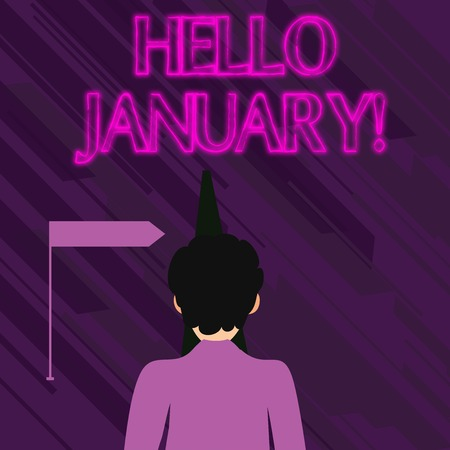 Conceptual hand writing showing Hello January. Concept meaning a greeting or warm welcome to the first month of the year Man Facing Distance and Blocking the View of Straight Narrow Path 免版税图像