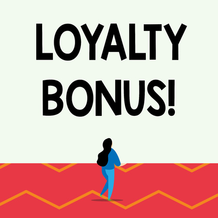 Word writing text Loyalty Bonus. Business photo showcasing reward such as money or points is given for a loyal customer Lengthy hairstyle woman stand with one leg lifted in back view position