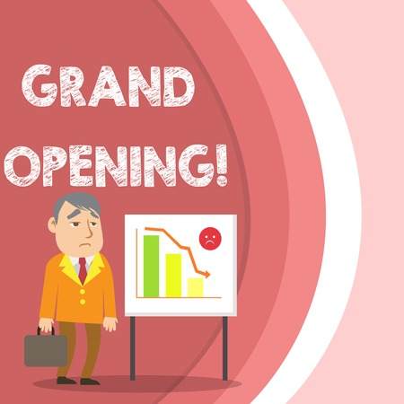 Conceptual hand writing showing Grand Opening. Concept meaning held to mark the opening of a new business or public place Businessman with Brief Case Standing Whiteboard Bar Chart