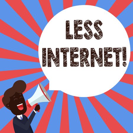 Text sign showing Less Internet. Business photo showcasing Having no way of connecting or accessing the internet Young Man Shouting into Megaphone Floating Round Shape Empty Speech Bubble