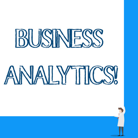 Conceptual hand writing showing Business Analytics. Concept meaning methodical exploration of an organization s is data Professor wear white coat red tie hold big board using hands Stock fotó