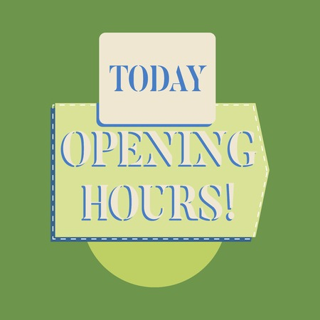 Word writing text Opening Hours. Business photo showcasing the time during which a business is open for customers Stockfoto