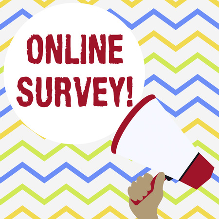 Conceptual hand writing showing Online Survey. Concept meaning type of assessment that is conducted via the Internet Hand Holding Loudhailer Speech Text Balloon Announcement New