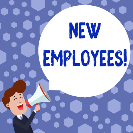 Text sign showing New Employees. Business photo showcasing has not previously been employed by the organization Young Man Shouting into Megaphone Floating Round Shape Empty Speech Bubble