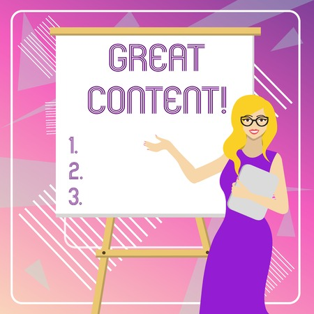 Text sign showing Great Content. Business photo showcasing valuable text matter of a document or publication in any form White Female in Glasses Standing by Blank Whiteboard on Stand Presentation