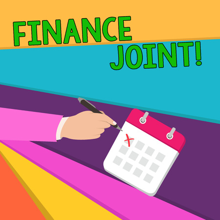 Handwriting text writing Finance Joint. Conceptual photo provision of funds for a project came from two or more sources Male Hand Formal Suit Crosses Off One Day Calendar Red Ink Ballpoint Pen