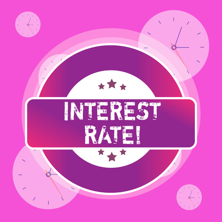 Conceptual hand writing showing Interest Rate. Concept meaning percentage of principal charged by the lender to borrower Colored Round Shape Label Stars Rectangular Text Box Award
