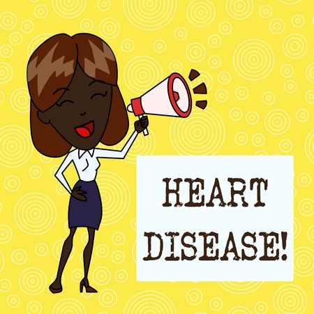 Handwriting text Heart Disease. Conceptual photo class of diseases that involve the heart or blood vessels Young Woman Speaking into Blowhorn Volume Icon Colored Backgdrop Text Box Imagens