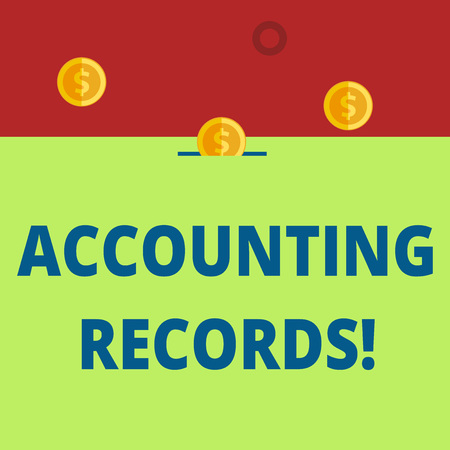 Word writing text Accounting Records. Business photo showcasing Manual or computerized records of assets and liabilities Three gold spherical coins value thousand dollars one bounce to piggy bank
