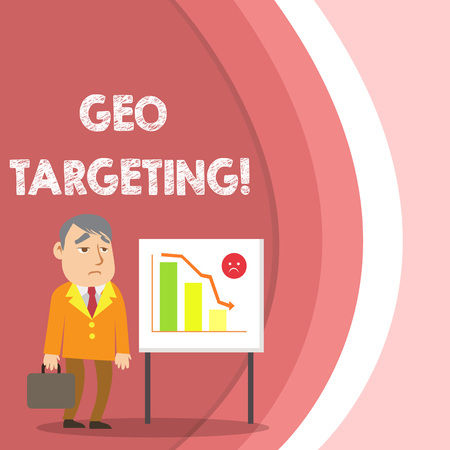 Conceptual hand writing showing Geo Targeting. Concept meaning method of determining the geolocation of a website visitor Businessman with Brief Case Standing Whiteboard Bar Chart