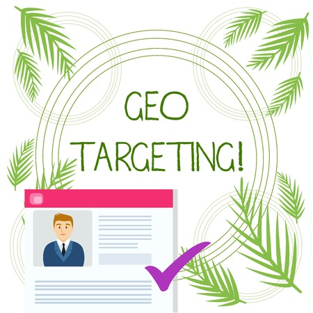 Conceptual hand writing showing Geo Targeting. Concept meaning method of determining the geolocation of a website visitor Curriculum Vitae Resume of Candidate Marked by Color Mark