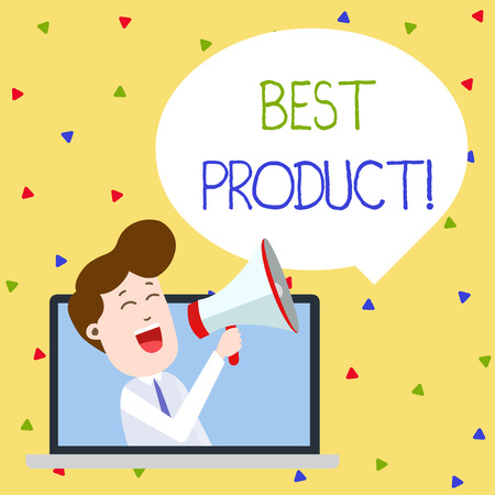 Word writing text Best Product. Business photo showcasing very popular and a large quantity of it has been sold Man Speaking Through Laptop into Loudhailer Blank Speech Bubble Announce