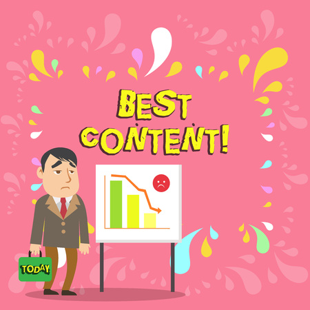 Conceptual hand writing showing Best Content. Concept meaning Information and experiences that are directed to the audience Businessman with Brief Case Standing Whiteboard Bar Chart