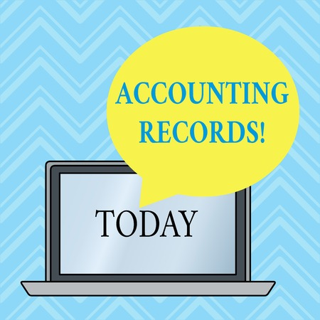 Handwriting text writing Accounting Records. Conceptual photo Manual or computerized records of assets and liabilities Round Shape Empty Speech Bubble Floating Over Open Laptop Colored Backdrop