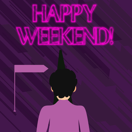 Conceptual hand writing showing Happy Weekend. Concept meaning wishing someone to have a blissful weekend or holiday Man Facing Distance and Blocking the View of Straight Narrow Path