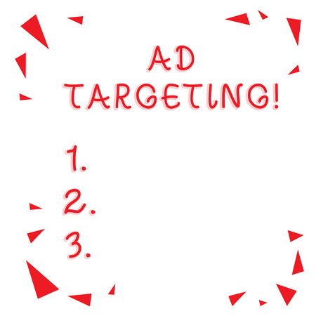 Text sign showing Ad Targeting. Business photo showcasing target the most receptive audiences with certain traits Red Confetti Shrapnel Glass Pieces Scattered in Corners Empty Copy Space