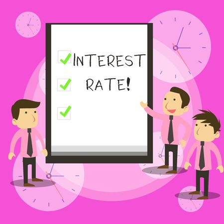 Conceptual hand writing showing Interest Rate. Concept meaning percentage of principal charged by the lender to borrower Business Colleagues Discuss Missions Presentation Whiteboard Ticks