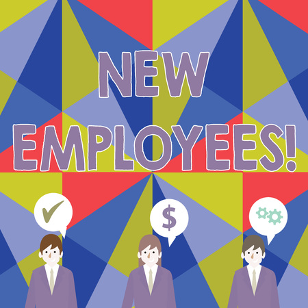 Handwriting text New Employees. Conceptual photo has not previously been employed by the organization Businessmen Each has their Own Speech Bubble with Optimization Cost Icons