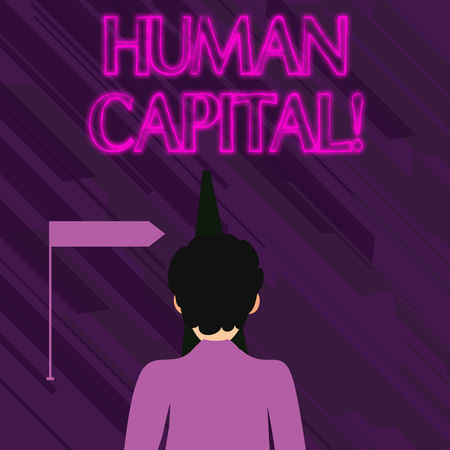 Conceptual hand writing showing Human Capital. Concept meaning quantification of the economic value of a worker s is skill set Man Facing Distance and Blocking the View of Straight Narrow Path