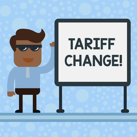 Conceptual hand writing showing Tariff Change. Concept meaning Changes on tax imposed on imported goods and services Office Worker Sunglass Blank Whiteboard Meeting Presentation Stock fotó