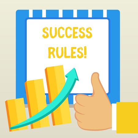 Word writing text Success Rules. Business photo showcasing able to achieve all the goals that you have set for yourself Thumb Up Good Performance Success Escalating Bar Graph Ascending Arrow Foto de archivo