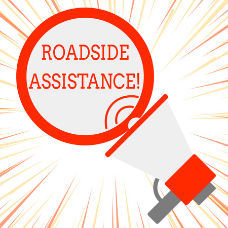 Handwriting text Roadside Assistance. Conceptual photo helps drivers when their vehicle breaks down on the road SpeakingTrumpet Empty Round Stroked Speech Text Balloon Announcement