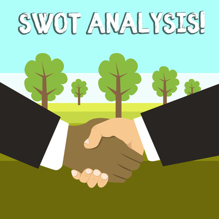 Conceptual hand writing showing Swot Analysis. Concept meaning framework used to evaluate a company s is competitive position Hand Shake Multiracial Male Business Partners Formal Suits Imagens