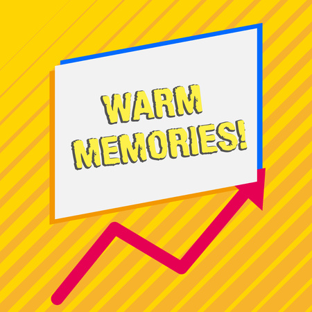 Handwriting text Warm Memories. Conceptual photo Something that you remember with pleasure Sweet reminiscences Irregular edging arrow line on the bottom of parallelogram blank papers