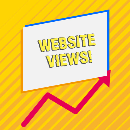 Handwriting text Website Views. Conceptual photo Number of visitors a website receives in a given time period Irregular edging arrow line on the bottom of parallelogram blank papers
