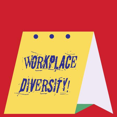 Schreiben Hinweis mit der Vielfalt am Arbeitsplatz. Geschäftskonzept für eine Umwelt, die die Unterschiede jedes Einzelnen akzeptiert Modernes, frisches Design des Kalenders aus hartem Papiermaterial